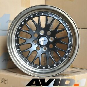 15 15x8 4x100 25 Avid 1 Av 12 Bronze Lip Black Mesh Rivet Tuner Wheel Set Of 4