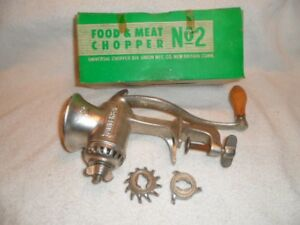 Vintage Universal No 2 Food Meat Chopper Clamp On Hand Crank 3 Cutters In Box