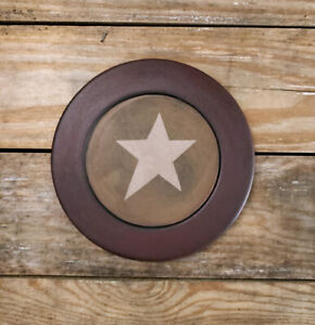 Primitive Decor Painted Wood Plate Folk Art Star The Hearthside Collection 8 5