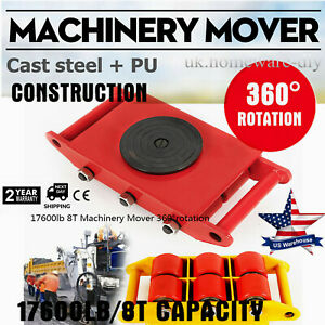 360 Heavy Duty Machine Dolly Skate Roller Machinery Mover 8t 17600lb 6 rollers