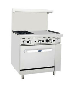 Atosa Cookrite Ato 2b24g 36 inch 2 Burner Heavy Duty Gas Range W Right Griddle