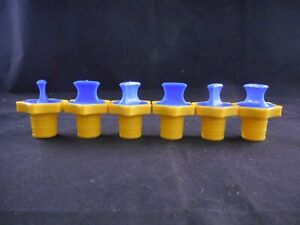 Kimax Plastic Hdpe Linear Stopper 22 For Volumetric Flasks Yellow blue 6 case
