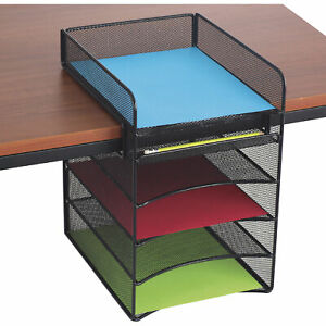 Mayline Safco Onyx Hanging Storage Desktop Organizer Black Model 3240bl