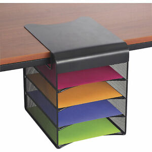 Mayline Safco Onyx Hanging Storage Desktop Organizer Black Solid Top