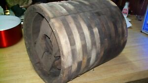 Flat Bell Wooden Pulley Farm Machinery Vintage 13x12