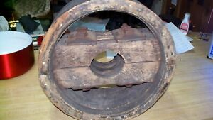 Flat Bell Wooden Pulley Farm Machinery Vintage 14x6
