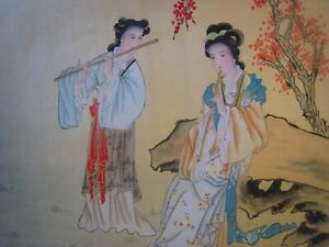 Vintage Antique Hand Painted Chinese Art Signed Paintings Lot Of 6