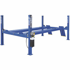 Rotary Lift 4 Post Closed Front Truck Car Lift 14k Lb Cap 182in Wheelbase Blue