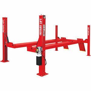 Rotary Lift 4 post Open Front Truck Car Lift 14k lb Cap 182in Wheelbase Red