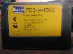 Ilsco Pdb 14 500 2 Power Distribution Block 2 Pole 380 Amp 600 Volt New No Box