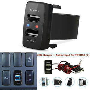 Car Dual Usb Charger Audio Port For Toyota Fj Cruiser Highlander Tacoma 4runner