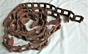 8 Scarce Old Square Cleated Heavy Farm Machinery Chain Steampunk Rustic Decor