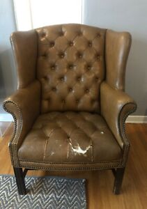 Tufted Leather Wingback Club Chair