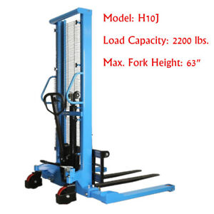 Eoslift Pallet Stacker Manual Straddle Stacker 2200lbs Cap 63 Max Forklift Us