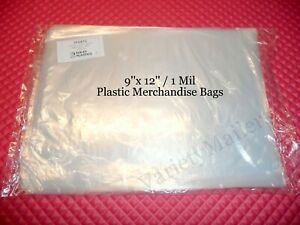 1000 Plastic 9x12 1 Mil Clear Flat Merchandise Bags Expedited Shipping