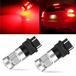 2x Brilliant Red 3157 33 Smd Tail Stop Brake Light Led Bulbs 3457 Replacement