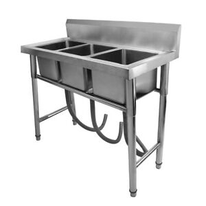 3 Compartment Stainless Steel Kitchen Commercial Sink Heavy Duty W drain Pipe