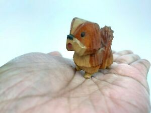 Miniature Antique Vintage American Puppy Dog Doll Wooden Carved Folk Art Painted