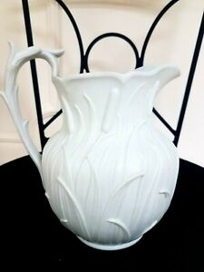 Antique W Ridgway White Cattails Relief English March 7 1850 Large Pitcher