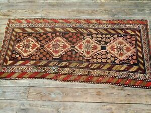 Antique Hand Made Geometric Wool Oriental Caucasian Kasak Hamedan Rug Runner
