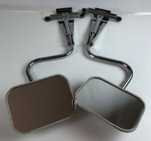 2vintage Chrome 8 X 5 1 2 Rectang Truck Extended Side Mirror Rv Overhead Mount