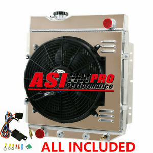 4 Row Radiator shroud Fan thermostat For 1965 66 Ford Mustang 5 0l Conversion V8