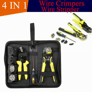 4 In 1 Wire Crimpers Ratcheting Terminal Wire Stripper crimping Kit W screwdiver
