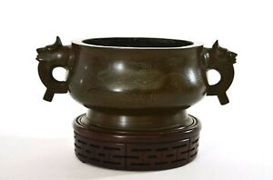 19th Century Chinese Bronze Silver Inlay Censer Incense Burner Shisou Wood Stand