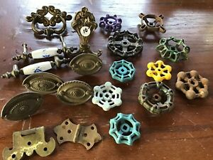Lot Of Vintage Water Faucet Knobs And Brass Pulls