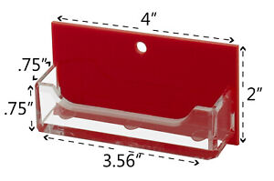 Business Card Gift Card Holder Clear With Red Backing Wall Mount Qty 6