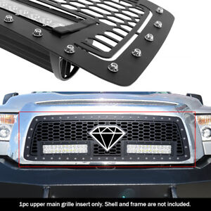 Fits 2010 2013 Toyota Tundra Upper Stainless Black Mesh With Led Grille Insert