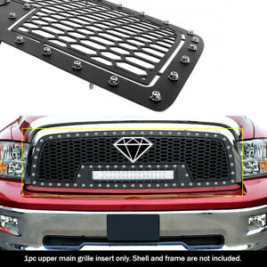 Fits 2009 2012 Dodge Ram 1500 Upper Stainless Black Mesh With Led Grille Insert