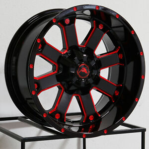 20x10 Ameican Off Road A108 6x5 5 6x139 7 24 Black Milled Red Wheels Ri Set 4