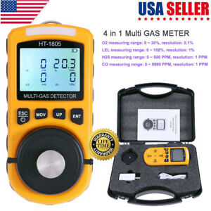 4 In 1 Gas Detector Co O2 H2s Oxygen Lel Gas Monitor Analyzer Test Meter Tool