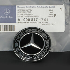 Black For Mercedes Benz Star Flat Hood Bonnet Logo Emblem Badge C300 C63 57mm