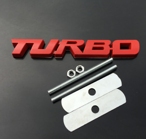 3d Red Metal Turbo T Car Auto Front Grill Grille Emblem Badge Decal Sticker