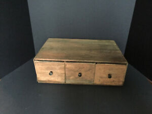 Antique Primitive American Pine 3 Drawer Apothecary Aafa About 90 100 Yrs Old