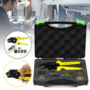 5 In 1 Set Cable Wire Ratchet Crimper Crimping Pliers Spare Tool Professional