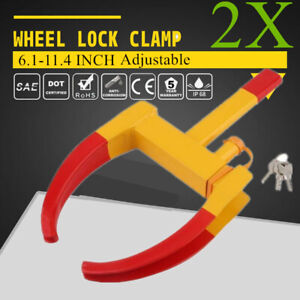 1pair Wheel Lock Clamp Boot Tire Claw Trailer Auto Car Truck Antitheft Towing 2x