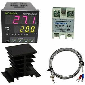 Ac 100 220v Itc 100vh Digital Pid Thermostat Temperature Controller Da 25a Ssr