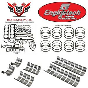 Enginetech Chevy Sbc 327 350 5 7 Re Ring Rebuild Kit With Main Bearings 68 85