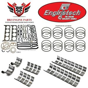 Enginetech Chevy Sbc 305 5 0 Re Ring Rebuild Kit With Main Bearings 76 85