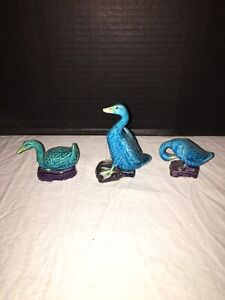3 Antique Chinese Clay Mud Duck Goose Figurines Marked China Turquoise