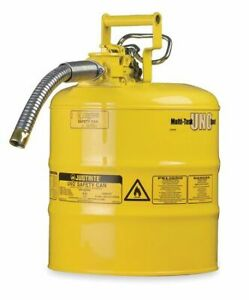 Justrite 7220220 2 Gal Yellow Galvanized Steel Type Ii Safety Can For Diesel