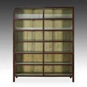 Fine Antique Chinese Elm Wood Bookcase Lacquered Painted Cabinet China 19th C