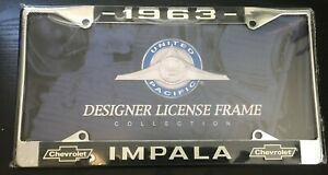 1963 Impala License Plate Frame New Chrome Steel For 6 By 12 Plate 1 Piece