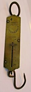24lb Antique Salter S Improved Spring Balance Hanging Scale Brass Plate