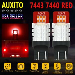 Auxito 7443 7440 Brake Tail Stop Light Red Led Bulb High Power 55w Non Polar Ck
