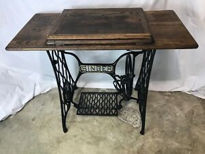 Refinished Vtg Antique Singer Treadle Sewing Machine Table Oak Cabinet Cast Iron