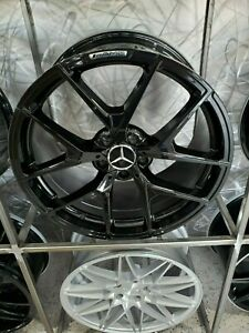20 Staggered Gloss Black Y Amg Style Wheels Fits Mercedes Cl Class Cl500 Cl550